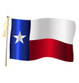 texas state waving flag and flagpole vector image vector image