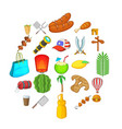 touristic space icons set cartoon style vector image vector image