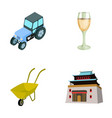 tractor glass and other web icon in cartoon style vector image