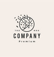 tree branch leaf round hipster vintage logo icon vector image