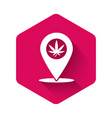 white map pointer and marijuana or cannabis leaf vector image vector image