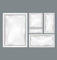 white pouch foil paper or plastic bags set on grey vector image