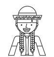 woman mexican culture icon vector image vector image