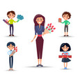 woman with roses and children with presents set vector image vector image
