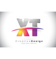 xt x t letter logo design with creative lines and vector image vector image