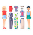 young girls in stylish clothes with spare outfits vector image vector image