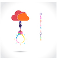 Flat cloud and creative light bulb sign vector image