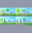 active lifestyle web pages set vector image vector image