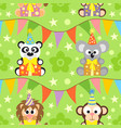 background seamless with funny animals vector image vector image