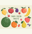 big set isolated hand drawn fruits and berries vector image vector image