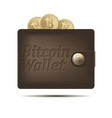 bitcoin wallet with coins isolated on white vector image vector image