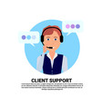 call center headset agent woman client support vector image vector image