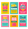 cards with schools symbols back to school cards vector image