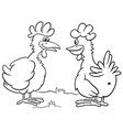 cartoon two hens characters talking coloring book vector image vector image