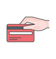 credit card with hand single line icon on white vector image vector image