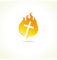 cross on fire vector image