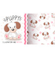 cute dog puppy - seamless pattern vector image vector image