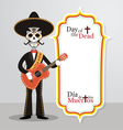 Day of the Dead Skull Mariachi vector image vector image