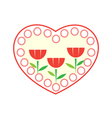 decorative heart with three flowers in it vector image vector image