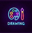 drawing neon label vector image vector image