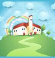 fantasy landscape with village vector image vector image