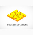 four piece puzzle business solution concept vector image vector image