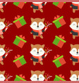 fox and present box christmas seamless pattern vector image vector image