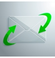 Glass Icon of Envelope with Arrows vector image