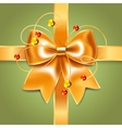 Gold bow of silk ribbon vector image vector image