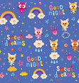 good night sweet dreams kids seamless pattern vector image vector image
