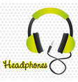 green headphones with connector over background of vector image vector image