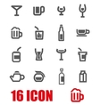 grey beverages icon set vector image