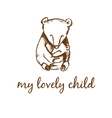 hand drawn bear mother and bear child vector image