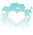 Heart shape cloud in the sky vector image vector image
