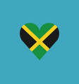 jamaica flag icon in a heart shape in flat design vector image