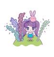kids cute little girl anime cartoon with balloon vector image
