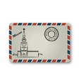 Letter from Moscow with the Kremlin tower painted vector image