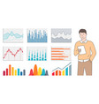 man holding paper statistic data chart vector image vector image