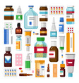 medicine pills or capsules and ointments syrups vector image