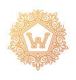 monogram w bage logo text vector image vector image