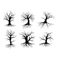 Old tree icons silhouettes with roots vector image vector image