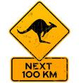 Roadsign Kangaroos Next 100 km vector image vector image