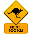 roadsigns kangaroos next 100 km vector image vector image