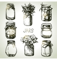 Rustic mason and canning jars hand drawn set vector image vector image
