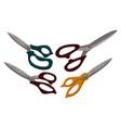 scissor template set color vector image vector image