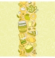 seamless vertical border with tea elements vector image vector image