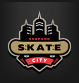 skateboarding park logo emblem on a dark vector image