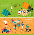 summer outdoor activity people banner set vector image