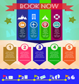 Summer time blue infographic with book now text vector image vector image
