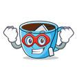 super hero tea cup character cartoon vector image vector image